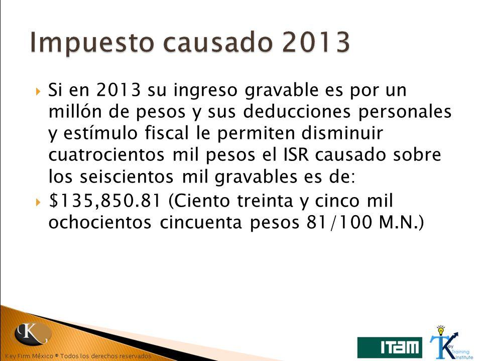 Si en 2013 su ingreso gravable es por un millón de pesos y sus deducciones personales y estímulo fiscal le permiten disminuir cuatrocientos mil pesos