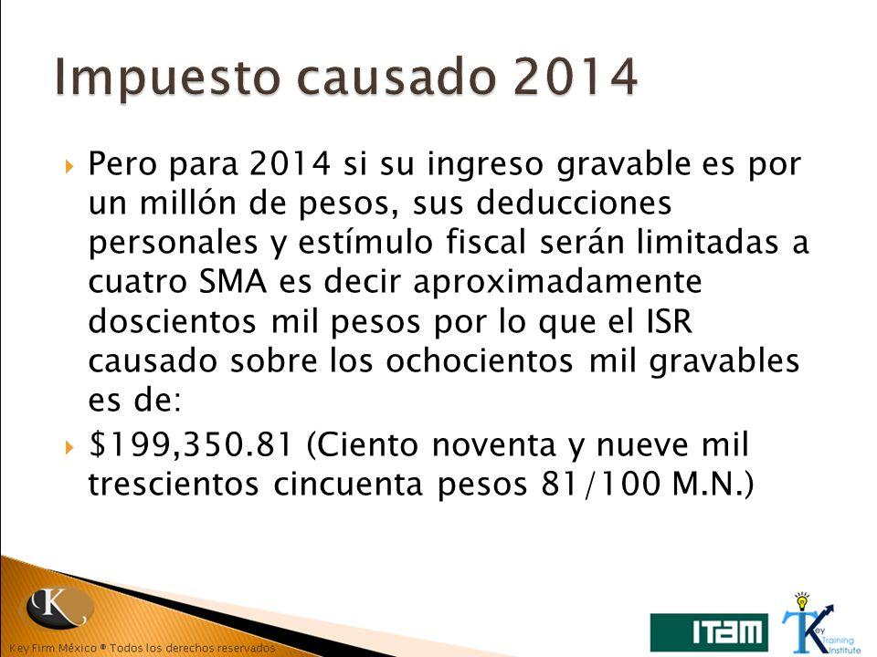 Pero para 2014 si su ingreso gravable es por un millón de pesos, sus deducciones personales y estímulo fiscal serán limitadas a cuatro SMA es decir ap