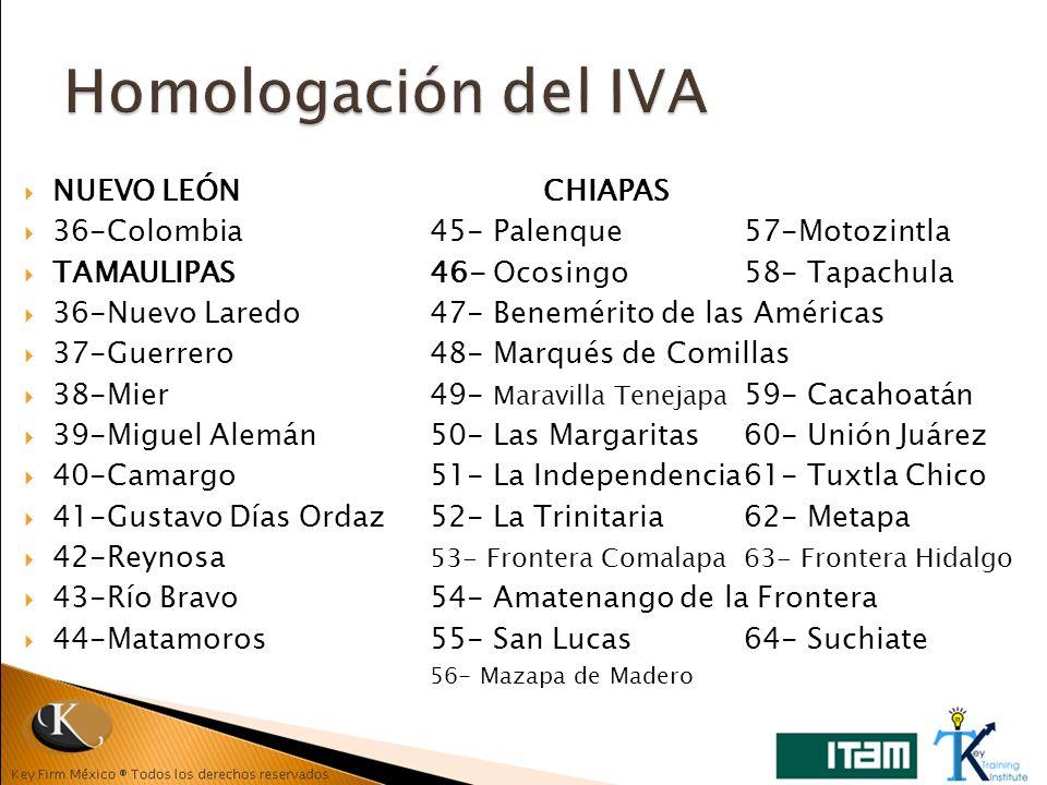 NUEVO LEÓN CHIAPAS 36-Colombia45- Palenque 57-Motozintla TAMAULIPAS46- Ocosingo58- Tapachula 36-Nuevo Laredo47- Benemérito de las Américas 37-Guerrero