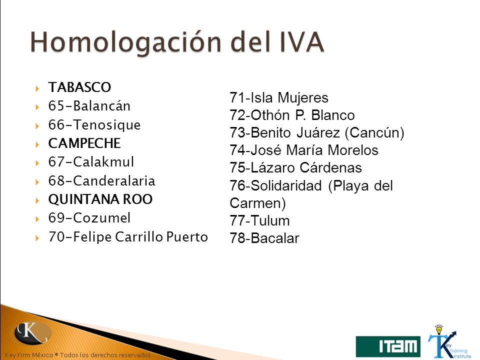 TABASCO 65-Balancán 66-Tenosique CAMPECHE 67-Calakmul 68-Canderalaria QUINTANA ROO 69-Cozumel 70-Felipe Carrillo Puerto 71-Isla Mujeres 72-Othón P. Bl