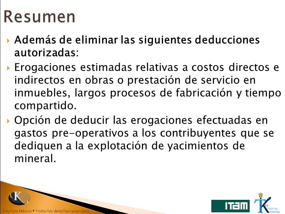 Además de eliminar las siguientes deducciones autorizadas: Erogaciones estimadas relativas a costos directos e indirectos en obras o prestación de ser