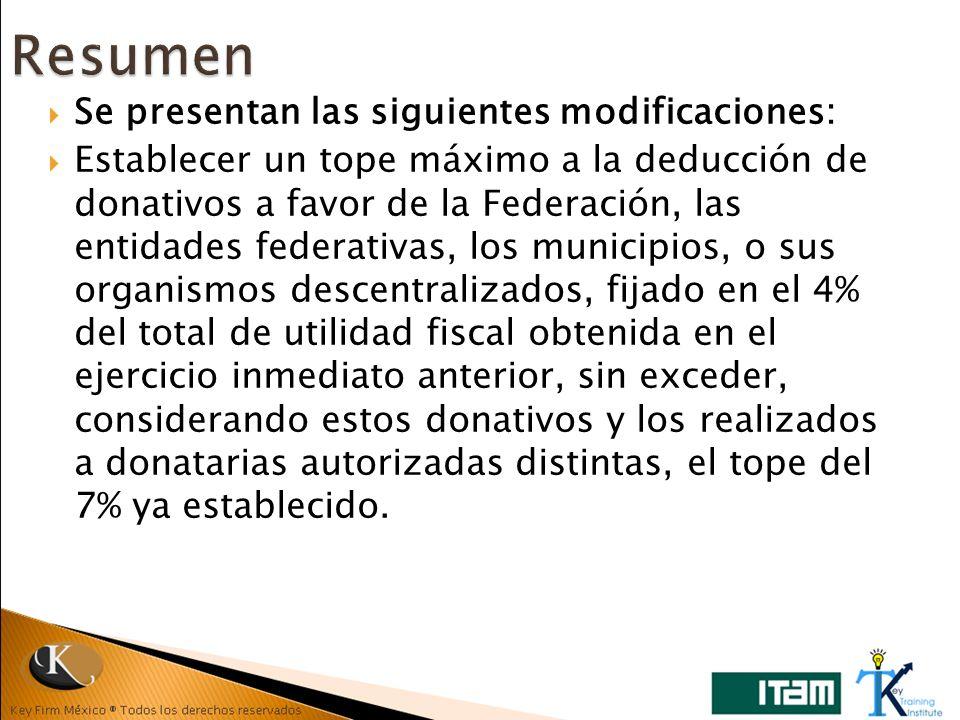 Se presentan las siguientes modificaciones: Establecer un tope máximo a la deducción de donativos a favor de la Federación, las entidades federativas,