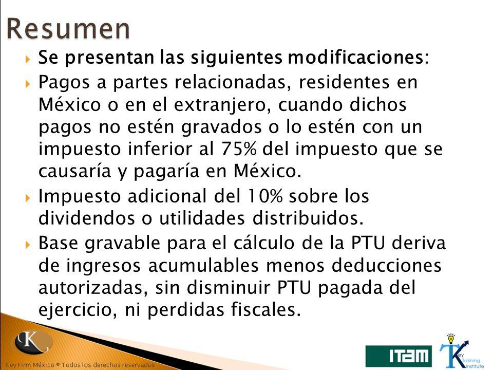 Se presentan las siguientes modificaciones: Pagos a partes relacionadas, residentes en México o en el extranjero, cuando dichos pagos no estén gravado