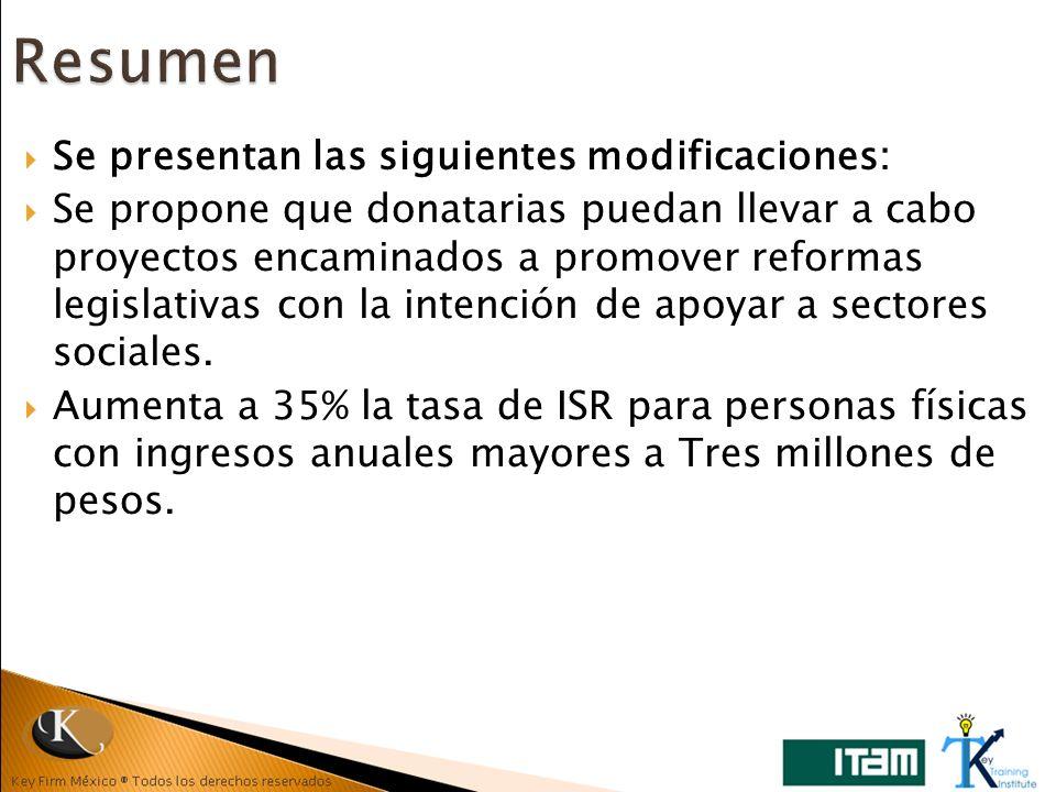 Se presentan las siguientes modificaciones: Se propone que donatarias puedan llevar a cabo proyectos encaminados a promover reformas legislativas con