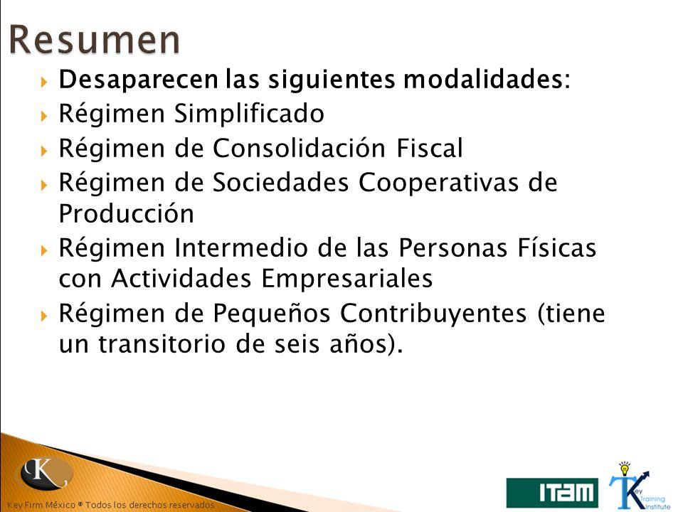 Desaparecen las siguientes modalidades: Régimen Simplificado Régimen de Consolidación Fiscal Régimen de Sociedades Cooperativas de Producción Régimen