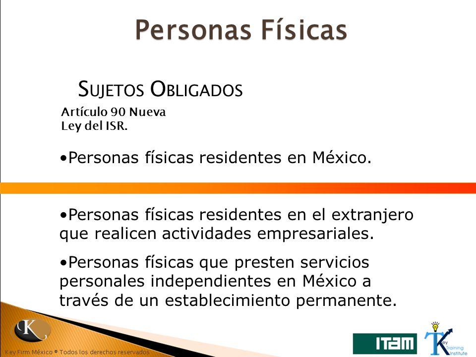 S UJETOS O BLIGADOS Artículo 90 Nueva Ley del ISR. Personas físicas residentes en México. Personas físicas residentes en el extranjero que realicen ac