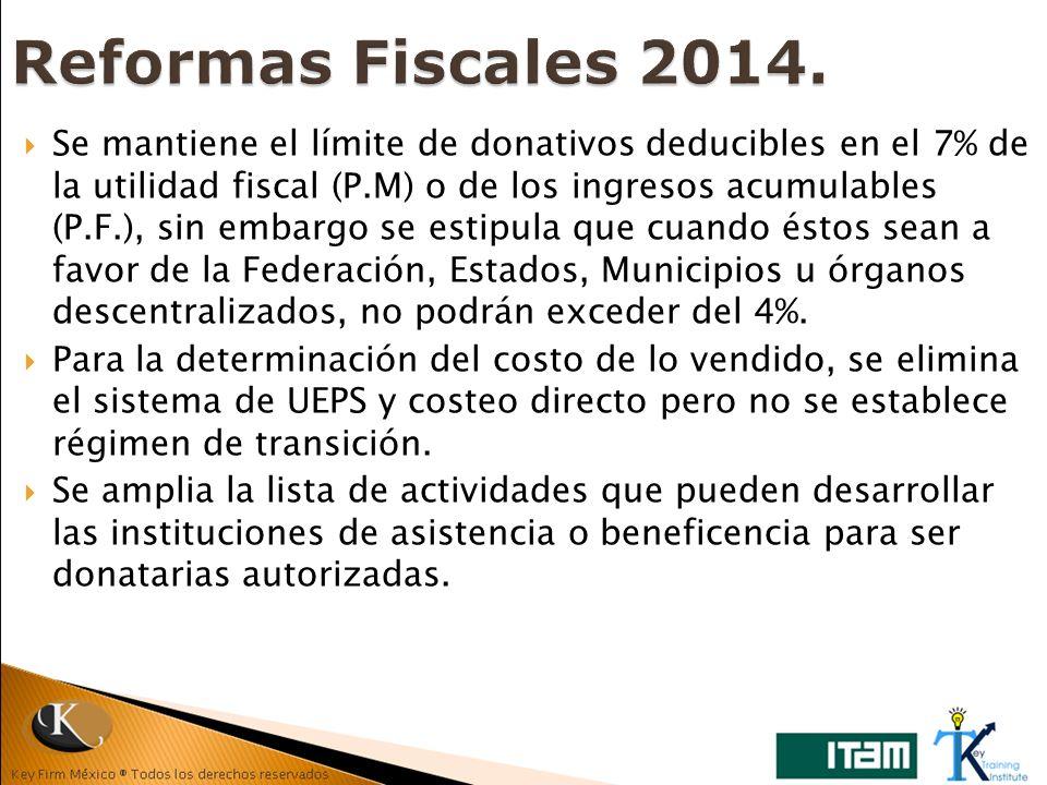 Se mantiene el límite de donativos deducibles en el 7% de la utilidad fiscal (P.M) o de los ingresos acumulables (P.F.), sin embargo se estipula que c