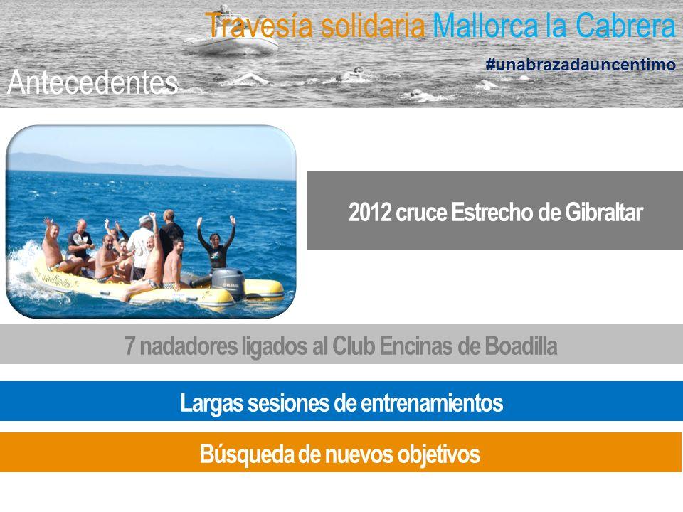 Travesía solidaria Mallorca la Cabrera #unabrazadauncentimo Antecedentes 2012 cruce Estrecho de Gibraltar 7 nadadores ligados al Club Encinas de Boadi