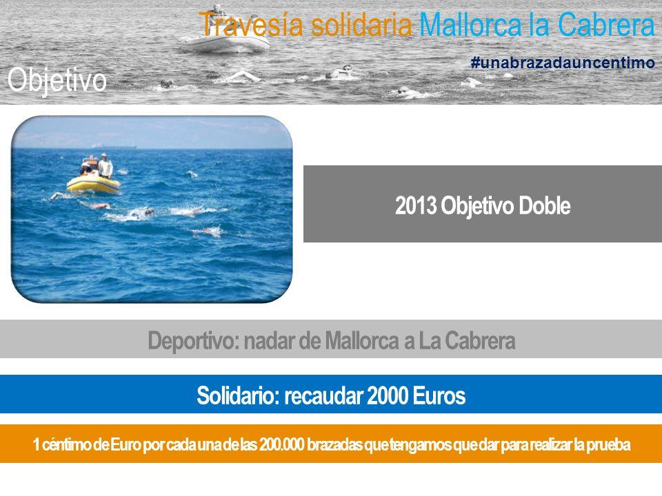 2013 Objetivo Doble Travesía solidaria Mallorca la Cabrera #unabrazadauncentimo Objetivo Deportivo: nadar de Mallorca a La Cabrera Solidario: recaudar 2000 Euros 1 céntimo de Euro por cada una de las 200.000 brazadas que tengamos que dar para realizar la prueba