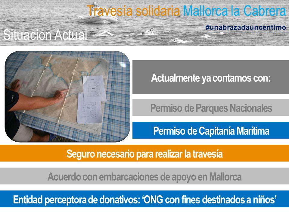 Permiso de Capitanía Marítima Actualmente ya contamos con: Permiso de Parques Nacionales Seguro necesario para realizar la travesía Acuerdo con embarcaciones de apoyo en Mallorca Travesía solidaria Mallorca la Cabrera #unabrazadauncentimo Situación Actual Entidad perceptora de donativos: ONG con fines destinados a niños