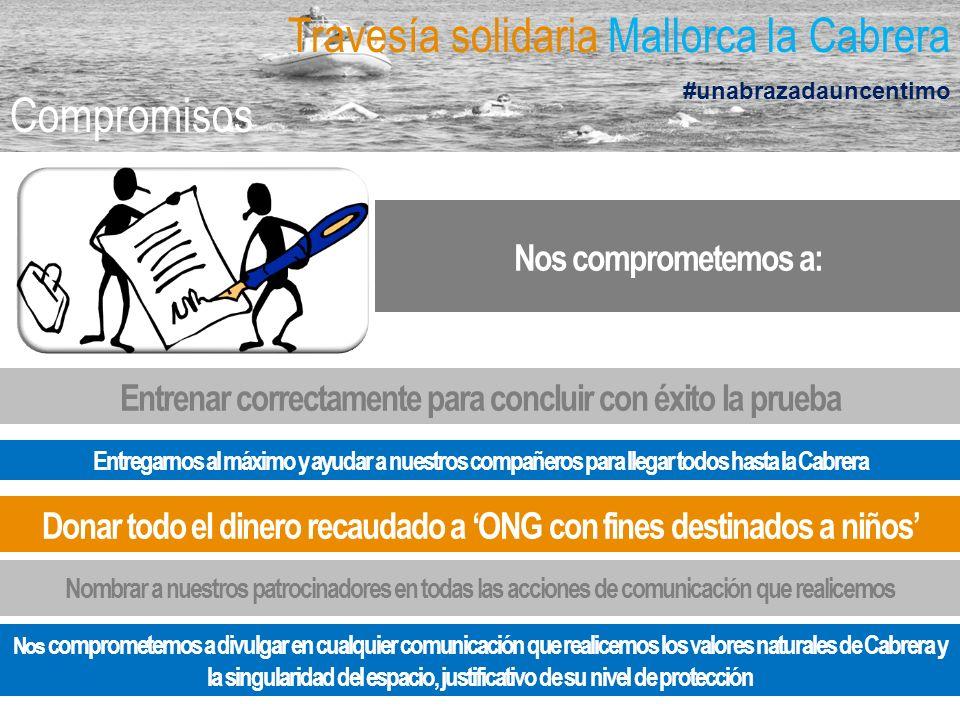 Travesía solidaria Mallorca la Cabrera #unabrazadauncentimo Compromisos Entregarnos al máximo y ayudar a nuestros compañeros para llegar todos hasta l