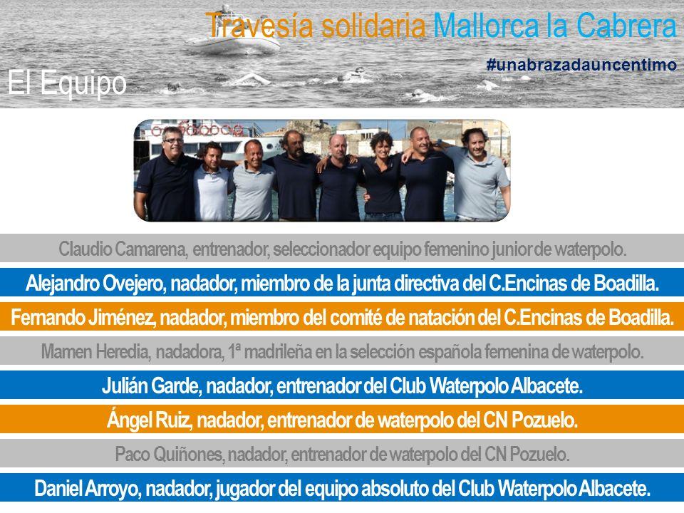 Travesía solidaria Mallorca la Cabrera #unabrazadauncentimo El Equipo Claudio Camarena, entrenador, seleccionador equipo femenino junior de waterpolo.