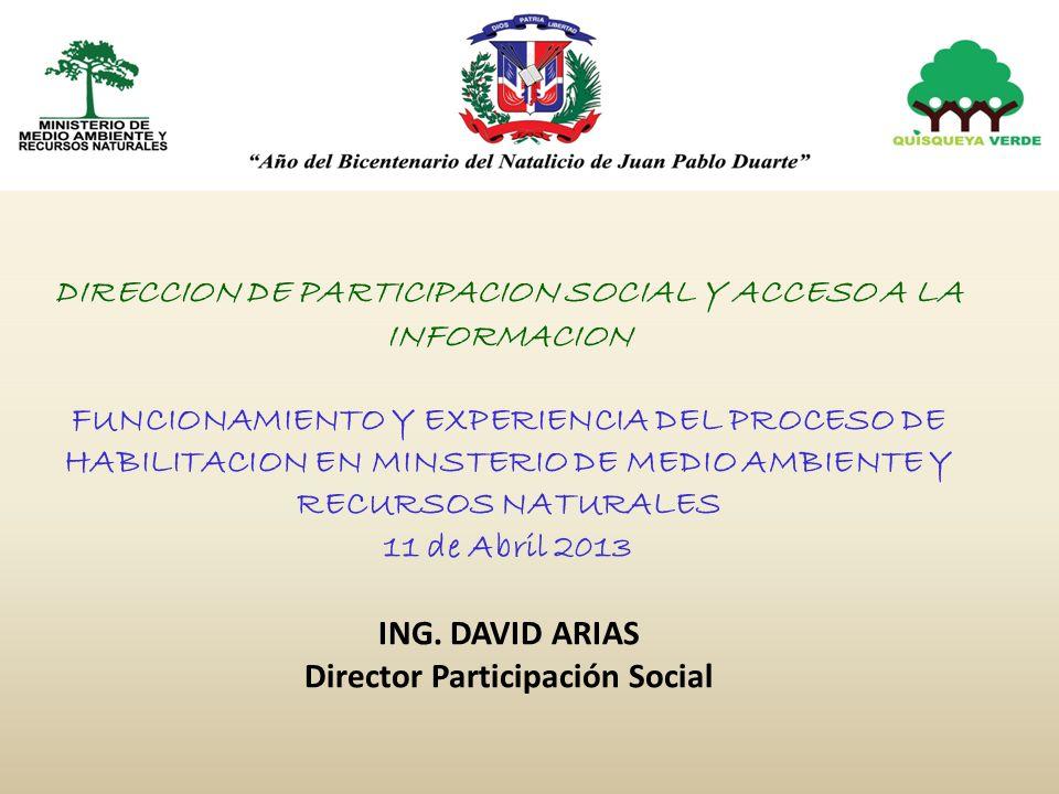 La Dirección de Participación Social y Acceso a la Información Fue creada por la resolución 06/2009 el 20 de Febrero del 2009 con la finalidad de: Ejecutar la política y directrices relativas a la participación de la sociedad y sus instituciones en la formulación y ejecución de la política, planes y programas definidos por el Ministerio de Medio Ambiente.