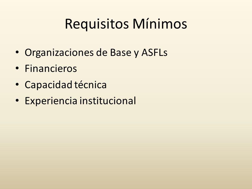 Requisitos Mínimos Organizaciones de Base y ASFLs Financieros Capacidad técnica Experiencia institucional
