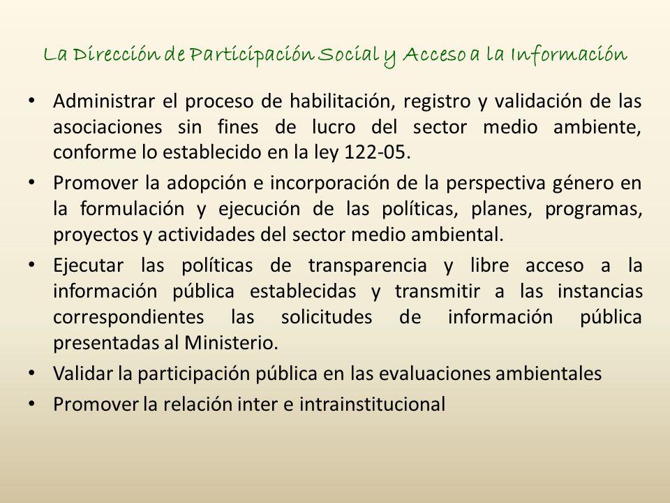 La Dirección de Participación Social y Acceso a la Información Administrar el proceso de habilitación, registro y validación de las asociaciones sin fines de lucro del sector medio ambiente, conforme lo establecido en la ley 122-05.