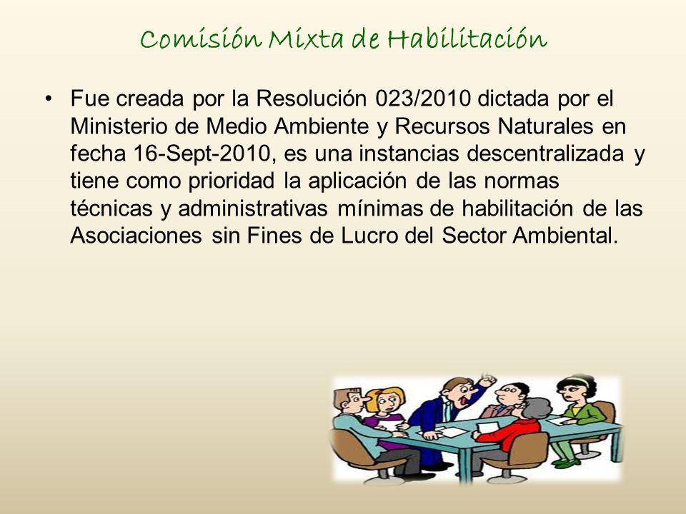 Comisión Mixta de Habilitación Fue creada por la Resolución 023/2010 dictada por el Ministerio de Medio Ambiente y Recursos Naturales en fecha 16-Sept-2010, es una instancias descentralizada y tiene como prioridad la aplicación de las normas técnicas y administrativas mínimas de habilitación de las Asociaciones sin Fines de Lucro del Sector Ambiental.