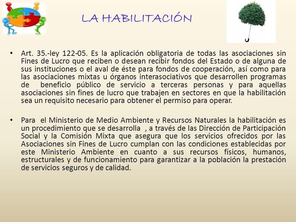 LA HABILITACIÓN Art. 35.-ley 122-05.