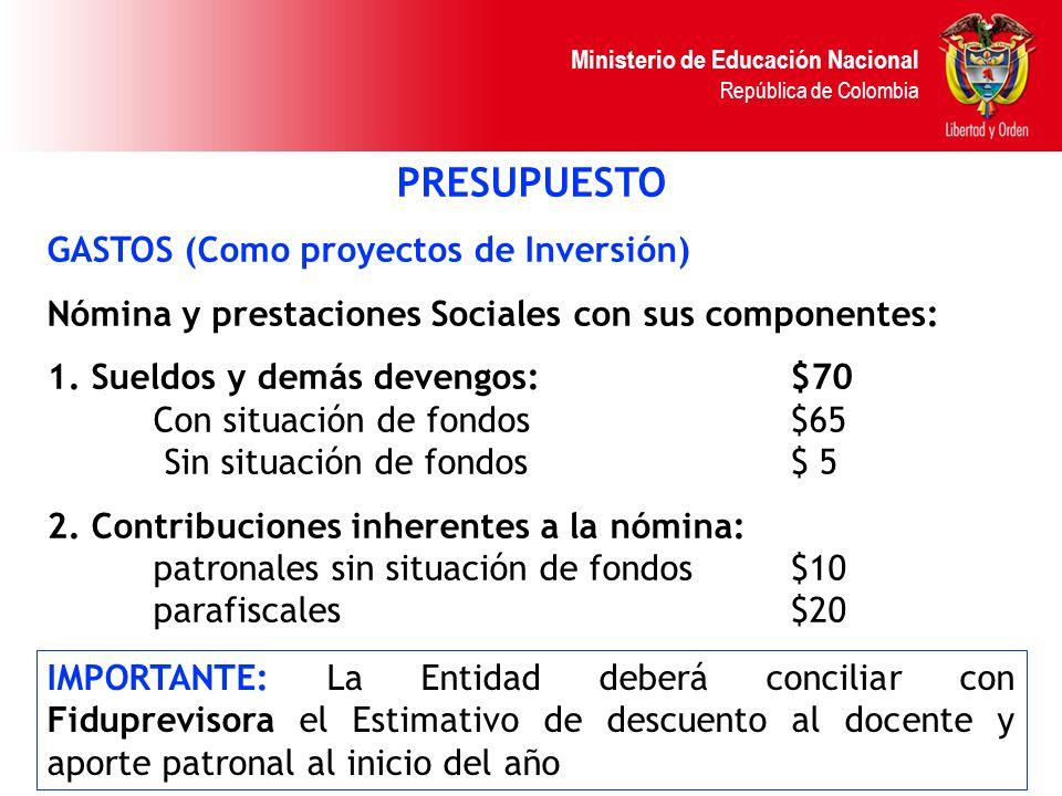 Ministerio de Educación Nacional República de Colombia PRESUPUESTO GASTOS (Como proyectos de Inversión) Nómina y prestaciones Sociales con sus compone