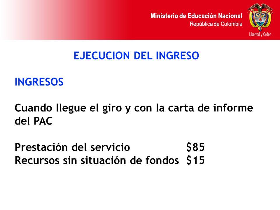 Ministerio de Educación Nacional República de Colombia EJECUCION DEL INGRESO INGRESOS Cuando llegue el giro y con la carta de informe del PAC Prestaci