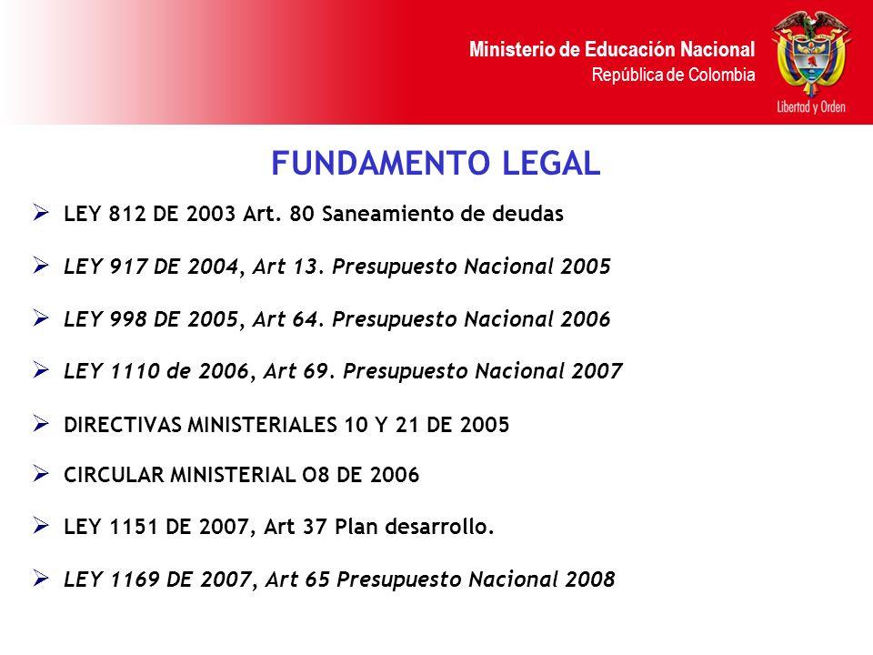Ministerio de Educación Nacional República de Colombia FUNDAMENTO LEGAL LEY 812 DE 2003 Art. 80 Saneamiento de deudas LEY 917 DE 2004, Art 13. Presupu