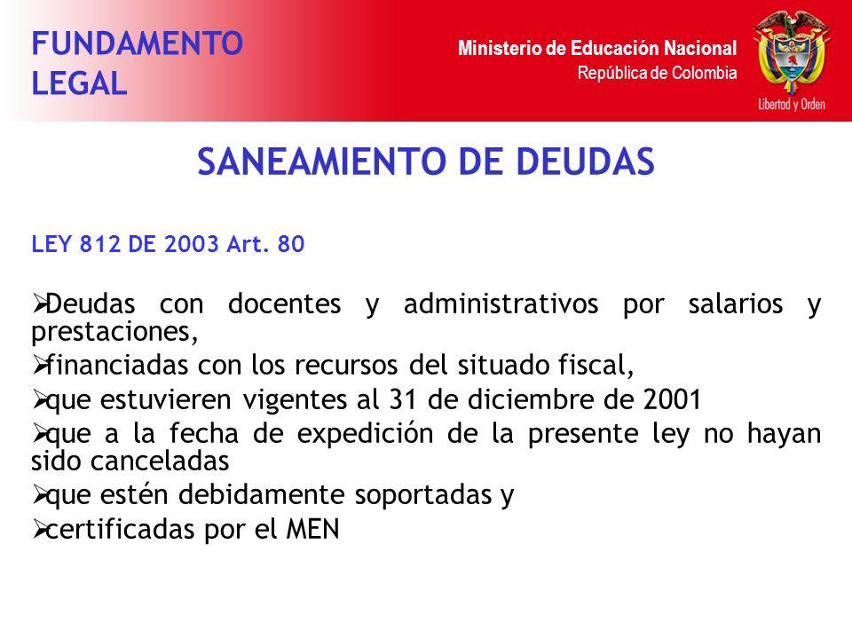 Ministerio de Educación Nacional República de Colombia SANEAMIENTO DE DEUDAS LEY 812 DE 2003 Art. 80 Deudas con docentes y administrativos por salario