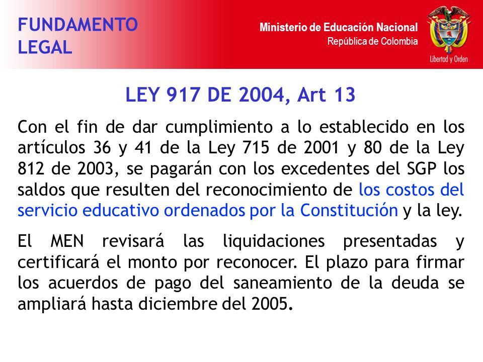 Ministerio de Educación Nacional República de Colombia LEY 917 DE 2004, Art 13 Con el fin de dar cumplimiento a lo establecido en los artículos 36 y 4