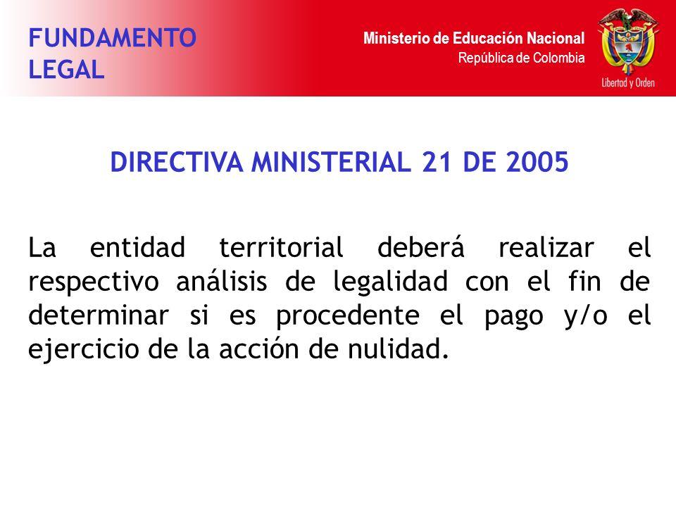 Ministerio de Educación Nacional República de Colombia DIRECTIVA MINISTERIAL 21 DE 2005 La entidad territorial deberá realizar el respectivo análisis