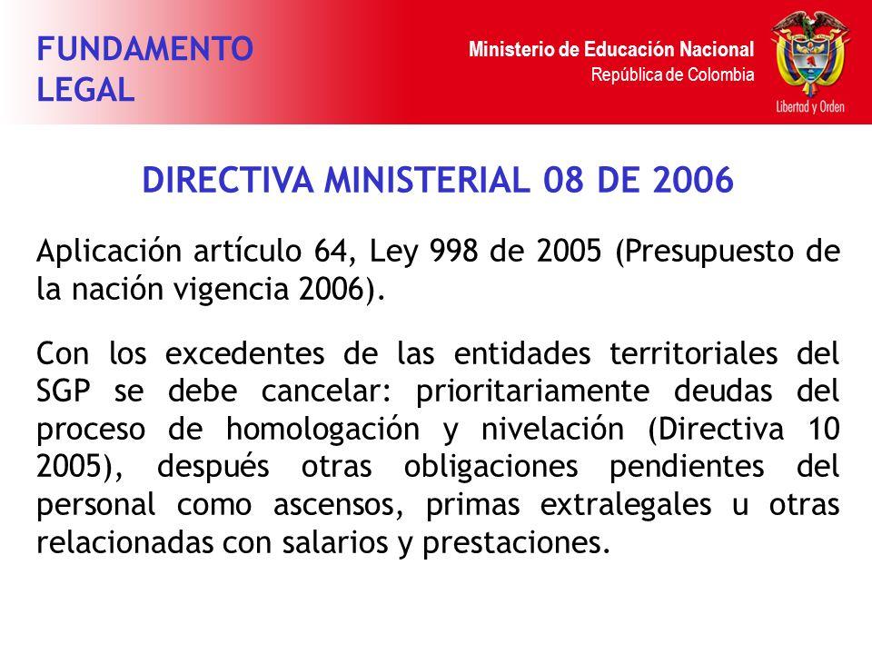 Ministerio de Educación Nacional República de Colombia DIRECTIVA MINISTERIAL 08 DE 2006 Aplicación artículo 64, Ley 998 de 2005 (Presupuesto de la nac
