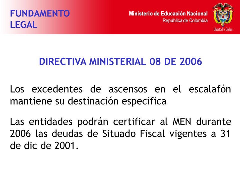 Ministerio de Educación Nacional República de Colombia DIRECTIVA MINISTERIAL 08 DE 2006 Los excedentes de ascensos en el escalafón mantiene su destina