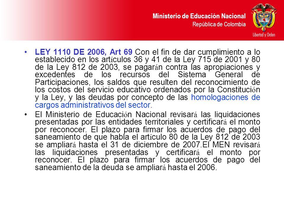 Ministerio de Educación Nacional República de Colombia LEY 1110 DE 2006, Art 69 Con el fin de dar cumplimiento a lo establecido en los art í culos 36