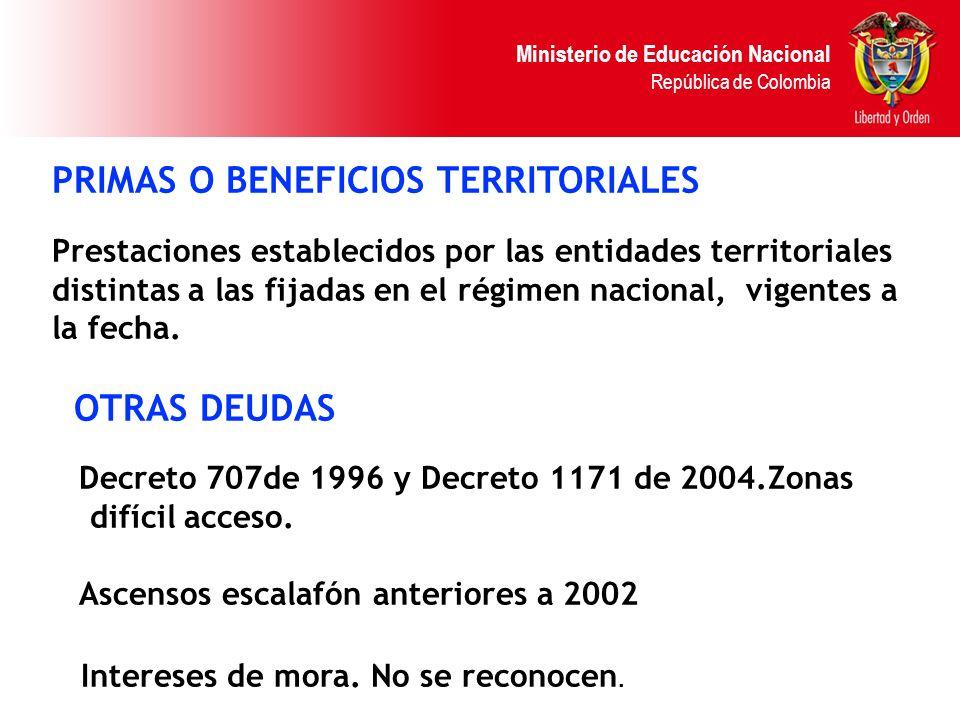 Ministerio de Educación Nacional República de Colombia PRIMAS O BENEFICIOS TERRITORIALES Prestaciones establecidos por las entidades territoriales dis