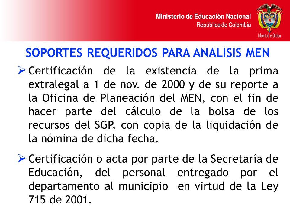 Ministerio de Educación Nacional República de Colombia SOPORTES REQUERIDOS PARA ANALISIS MEN Certificación de la existencia de la prima extralegal a 1
