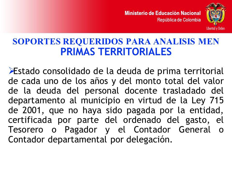 Ministerio de Educación Nacional República de Colombia SOPORTES REQUERIDOS PARA ANALISIS MEN PRIMAS TERRITORIALES Estado consolidado de la deuda de pr