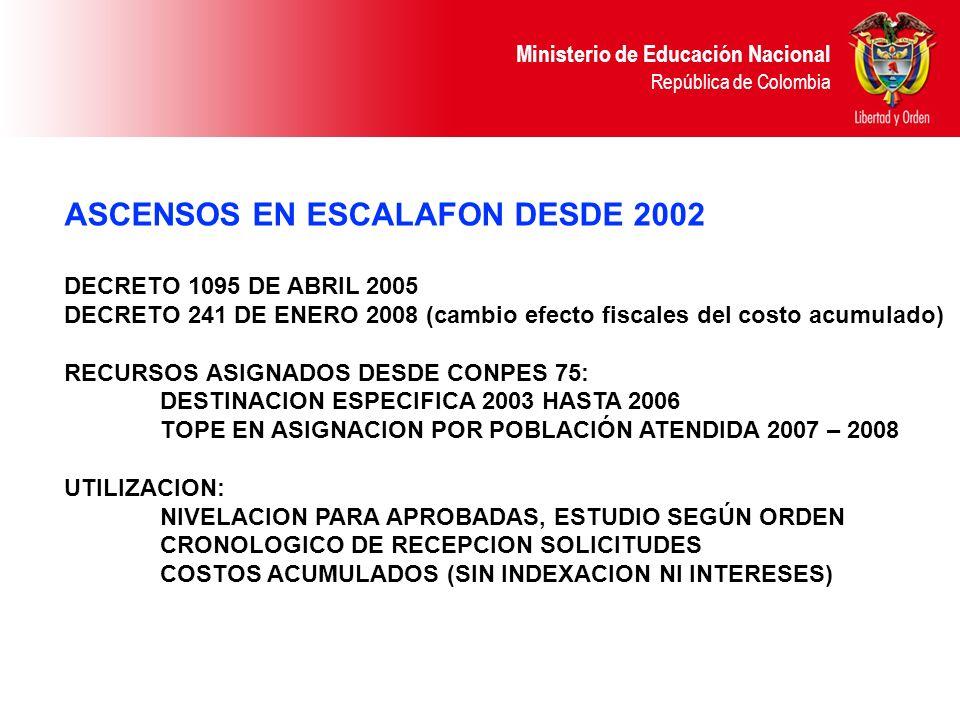 Ministerio de Educación Nacional República de Colombia ASCENSOS EN ESCALAFON DESDE 2002 DECRETO 1095 DE ABRIL 2005 DECRETO 241 DE ENERO 2008 (cambio e
