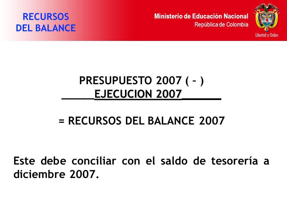 Ministerio de Educación Nacional República de Colombia PRESUPUESTO 2007 ( – ) EJECUCION 2007 _____EJECUCION 2007______ = RECURSOS DEL BALANCE 2007 Est