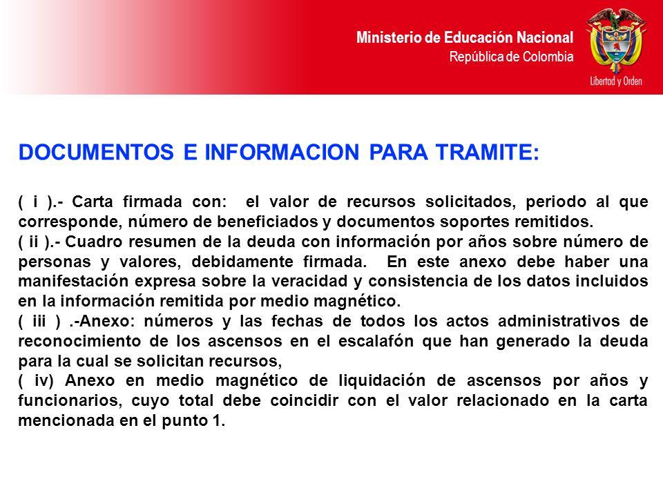 Ministerio de Educación Nacional República de Colombia DOCUMENTOS E INFORMACION PARA TRAMITE: ( i ).- Carta firmada con: el valor de recursos solicita