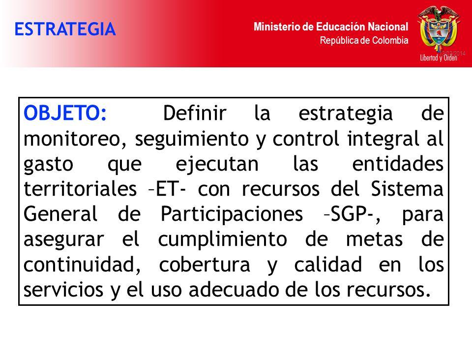 Ministerio de Educación Nacional República de Colombia 13/03/2014 OBJETO: Definir la estrategia de monitoreo, seguimiento y control integral al gasto
