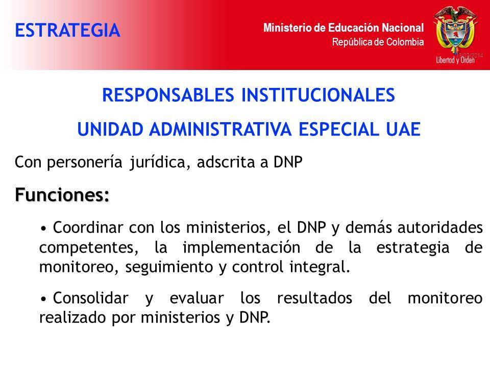 Ministerio de Educación Nacional República de Colombia 13/03/2014 RESPONSABLES INSTITUCIONALES UNIDAD ADMINISTRATIVA ESPECIAL UAE Con personería juríd