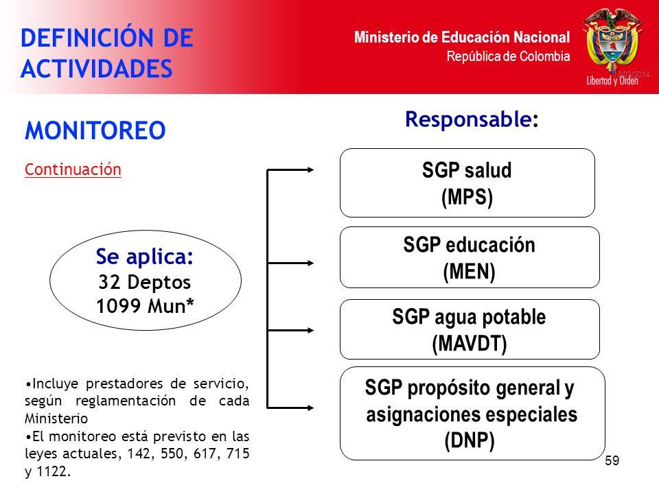 Ministerio de Educación Nacional República de Colombia 59 13/03/2014 SGP salud (MPS) Se aplica: 32 Deptos 1099 Mun* SGP educación (MEN) SGP agua potab