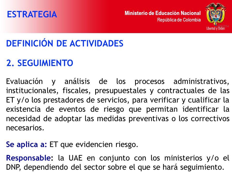 Ministerio de Educación Nacional República de Colombia 13/03/2014 DEFINICIÓN DE ACTIVIDADES 2. SEGUIMIENTO Evaluación y análisis de los procesos admin