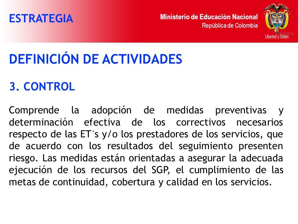 Ministerio de Educación Nacional República de Colombia 13/03/2014 DEFINICIÓN DE ACTIVIDADES 3. CONTROL Comprende la adopción de medidas preventivas y