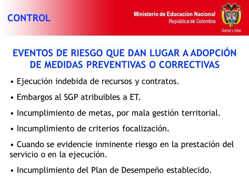 Ministerio de Educación Nacional República de Colombia EVENTOS DE RIESGO QUE DAN LUGAR A ADOPCIÓN DE MEDIDAS PREVENTIVAS O CORRECTIVAS Ejecución indeb