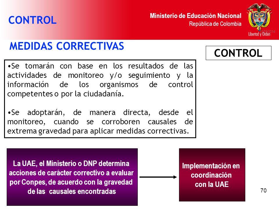 Ministerio de Educación Nacional República de Colombia 13/03/2014 La UAE, el Ministerio o DNP determina acciones de carácter correctivo a evaluar por