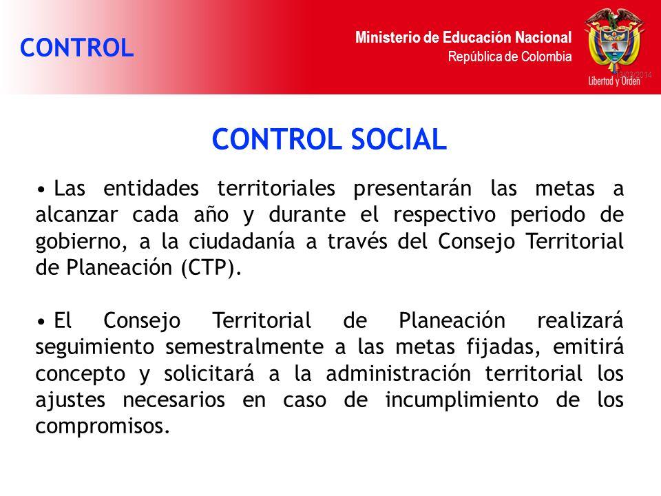 Ministerio de Educación Nacional República de Colombia 13/03/2014 CONTROL SOCIAL Las entidades territoriales presentarán las metas a alcanzar cada año