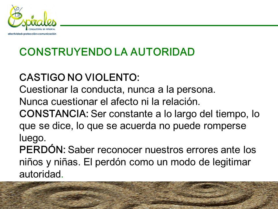 CONSTRUYENDO LA AUTORIDAD CASTIGO NO VIOLENTO: Cuestionar la conducta, nunca a la persona. Nunca cuestionar el afecto ni la relación. CONSTANCIA: Ser