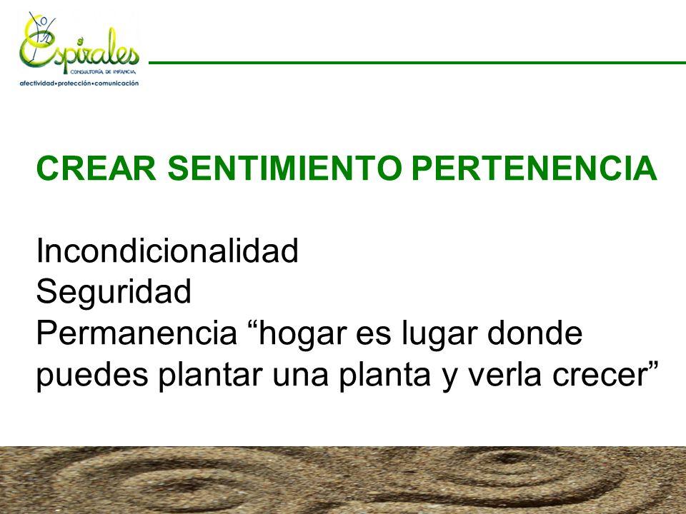 CREAR SENTIMIENTO PERTENENCIA Incondicionalidad Seguridad Permanencia hogar es lugar donde puedes plantar una planta y verla crecer