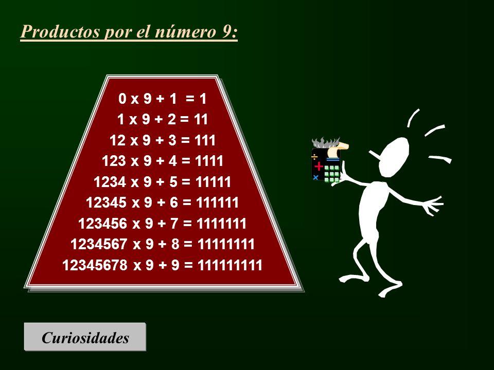 Curiosidades 0 x 9 + 1 = 1 1 x 9 + 2 = 11 12 x 9 + 3 = 111 123 x 9 + 4 = 1111 1234 x 9 + 5 = 11111 12345 x 9 + 6 = 111111 123456 x 9 + 7 = 1111111 123