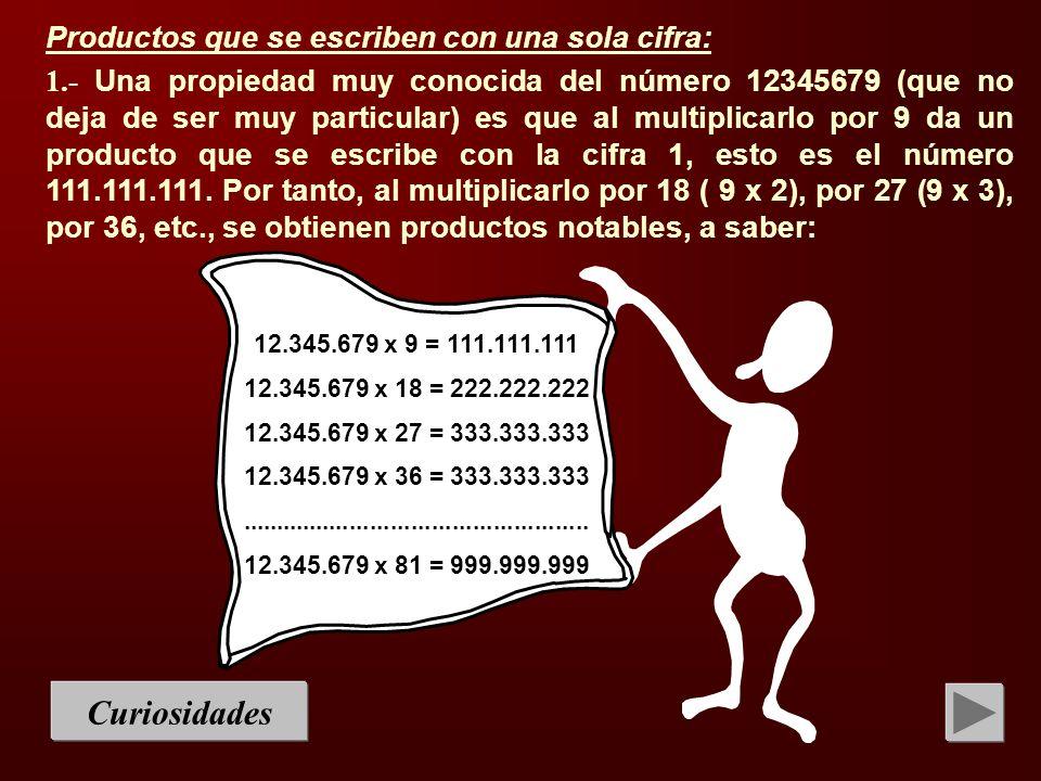 Curiosidades Productos que se escriben con una sola cifra: 1.- Una propiedad muy conocida del número 12345679 (que no deja de ser muy particular) es q