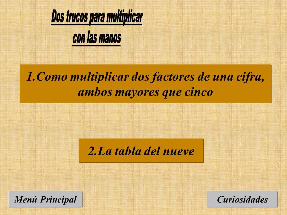 1.Como multiplicar dos factores de una cifra, ambos mayores que cinco Curiosidades 2.La tabla del nueve