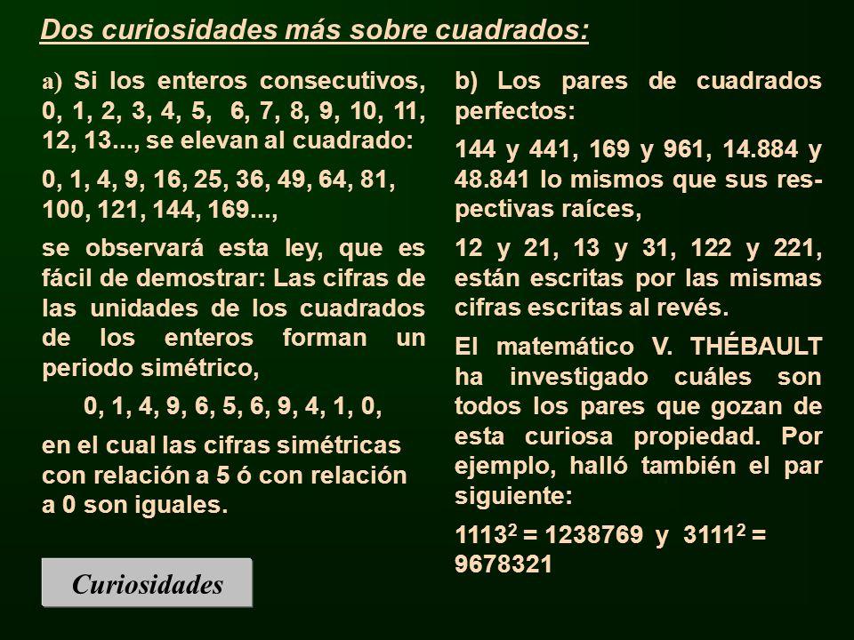 Curiosidades a) Si los enteros consecutivos, 0, 1, 2, 3, 4, 5, 6, 7, 8, 9, 10, 11, 12, 13..., se elevan al cuadrado: 0, 1, 4, 9, 16, 25, 36, 49, 64, 8